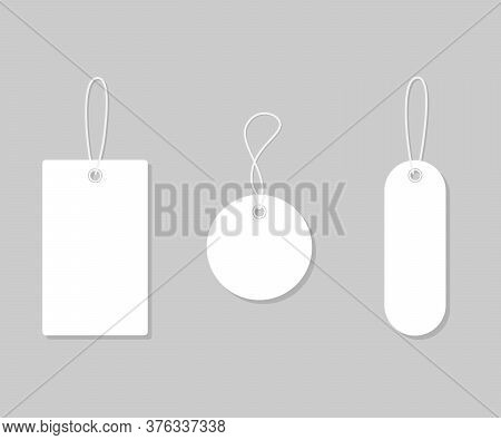 Set White Tags And Labels For Sale, Mockup Frames. Blank Template Shopping Labels. Paper Blank, Disc