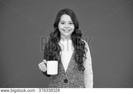Good Morning. Drink Enough Water. Girl Kid Hold Mug Red Background. Child Hold Mug. Drinking Tea Jui