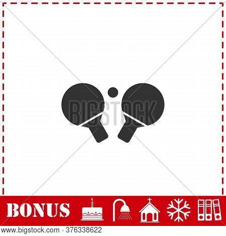 Ping Pong Icon Flat. Simple Vector Symbol And Bonus Icon