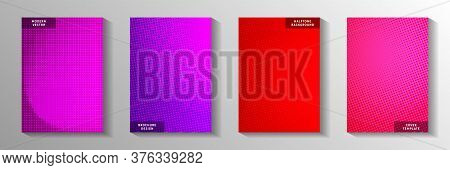 Trendy Point Faded Screen Tone Cover Templates Vector Batch. Medical Banner Perforated Screen Tone P