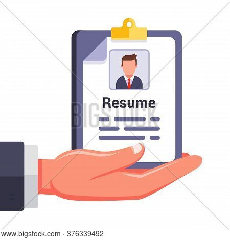 Write Your Resume And Offer Yourself To The Employer. Search For A New Job. Flat Vector Illustration
