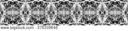 Vintage Ikat Border. Decorative Art Image. Ogee Geo Pattern. Monochrome Seamless  Mexican Mosaic Des