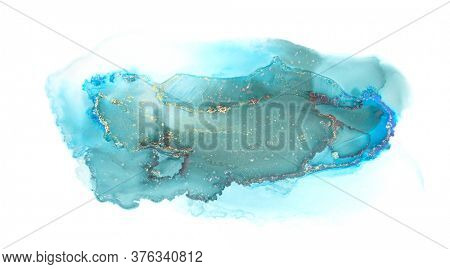 Art Abstract  watercolor and acrylic blot painting. Blue Color canvas marble texture background. Alcohol ink.