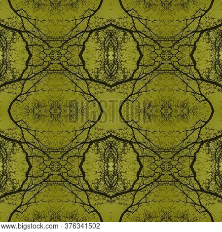 Retro Floral Print. Delicate Lace Motifs. Ikat Rhombus Print. Silver Metalic Repeat  Tile Japanese G