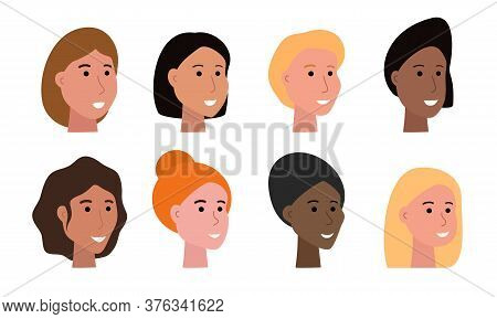 Set Of Smiling Faces Of Woman Of Various Ethnicity And With Different Skin Tone And Haircuts, Heads