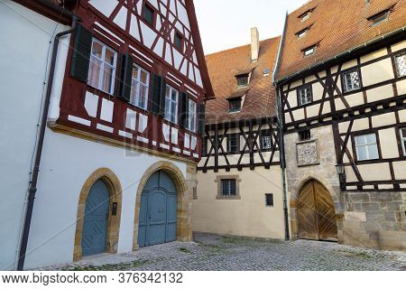 Empty Ancient Street With Colorful Houses  In  Old Town Bamberg , Unesco World Heritage Site. German