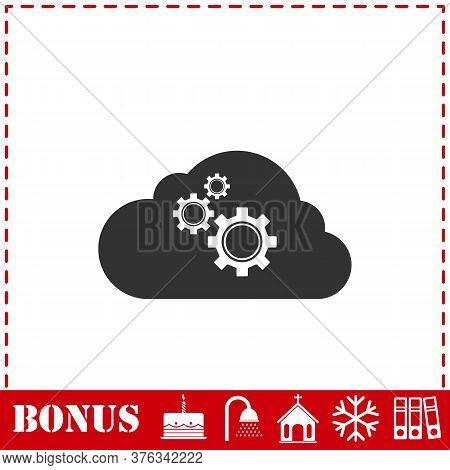 Cloud Storage Preferences Icon Flat. Simple Vector Symbol And Bonus Icon