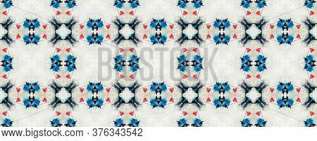 Original Tile Template.  Watercolor Majolica Tile. Ethnic Embroidery. Sky Blue Seamless Tile Japanes