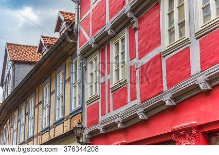 Colorful Half Timbered Houses In Historic City Quedlinburg, Germany
