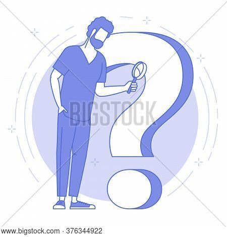 Thin Line Blue Icon Of Young Man With Magnifier And Question Mark. Flat Design Vector Concept For Fa
