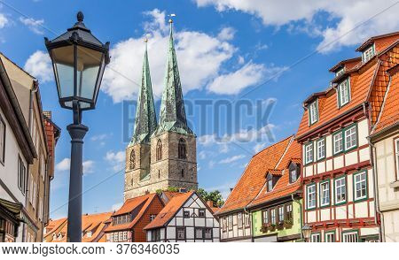 Church Towers And Half Timbered Houses In Historic City Quedlinburg, Germany