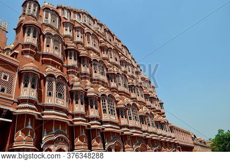 Side View Of Hawa Mahal. Hawa Mahal Is Constructed Of Red And Pink Sandstone. The Structure Was Buil