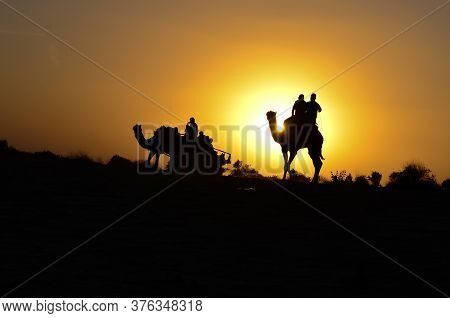 Silhouette Of A Camel Cart And Camel Carrying Tourists In Sam Sand Dunes, Jaisalmer. Located In The