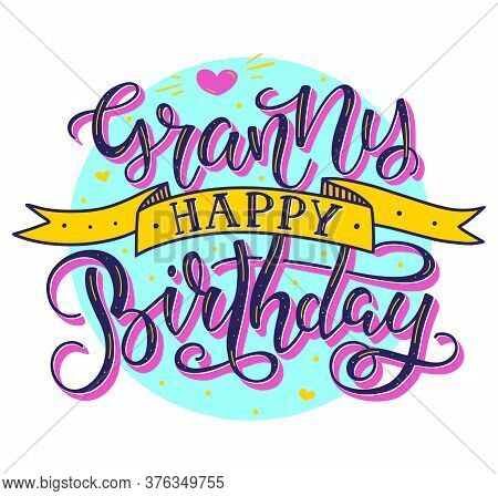 Granny Happy Birthday Colored Text With Ribbon Isolated On White Background, Vector Stock Illustrati