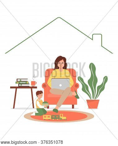 Female Freelance Worker With A Child At The Workplace. A Busy Mother Works From Home With Her Baby.