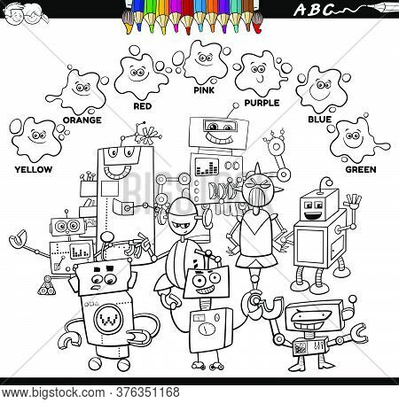 Black And White Educational Cartoon Illustration Of Basic Colors With Comic Robots Characters Group
