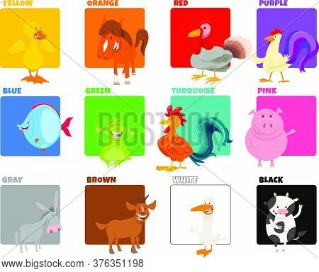 Cartoon Illustration Of Basic Colors With Comic Animal Characters Educational Set