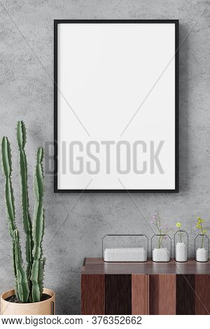 Portrait Poster Frame Mockup On The Concrete Cement Wall Minimalism Style