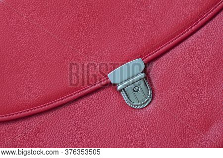 Close-up Texture Of Briefcase, Handbag From Genuine Leather With Metal Buckle Or Clasp Lock. For Bac