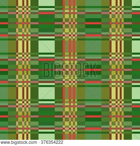 Tartan Scottish Muted Seamless Pattern In Green, Khaki And Pink Hues, Texture For Flannel Shirt, Pla