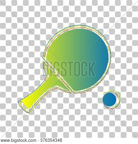 Ping Pong Paddle With Ball. Blue To Green Gradient Icon With Four Roughen Contours On Stylish Transp