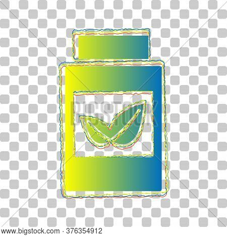Supplements Container Sign. Blue To Green Gradient Icon With Four Roughen Contours On Stylish Transp