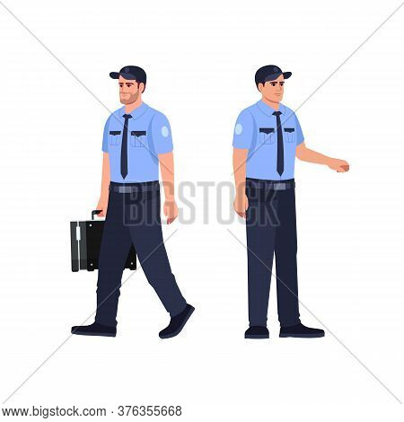 Police Officer Semi Flat Rgb Color Vector Illustration Set. Security Guard Carry Briefcase With Cash
