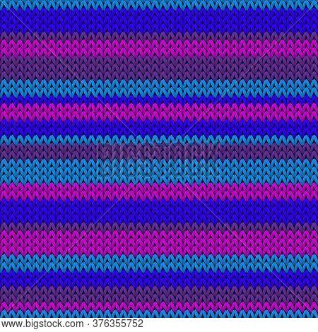 Macro Horizontal Stripes Knit Texture Geometric Vector Seamless. Fair Isle Sweater Knitwear Fabric P
