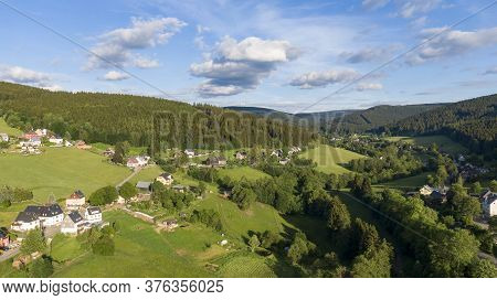 Small Town Rittersgrün In Saxony Germany, Ore Mountains