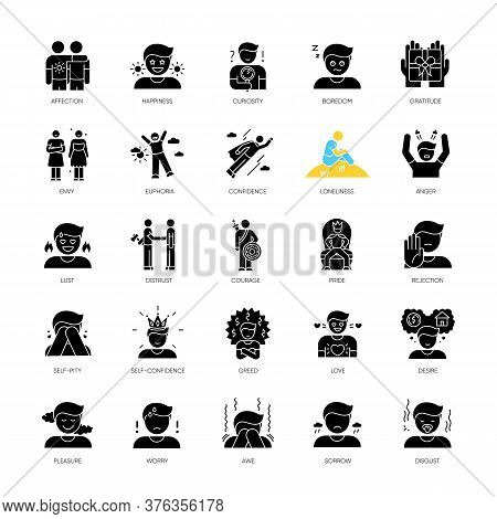 Human Feelings Black Glyph Icons Set On White Space