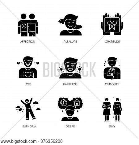 Feelings And Emotions Black Glyph Icons Set On White Space