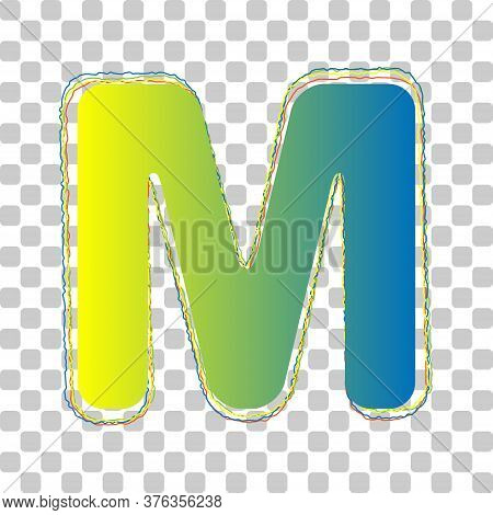 Letter M Sign Design Template Element. Blue To Green Gradient Icon With Four Roughen Contours On Sty