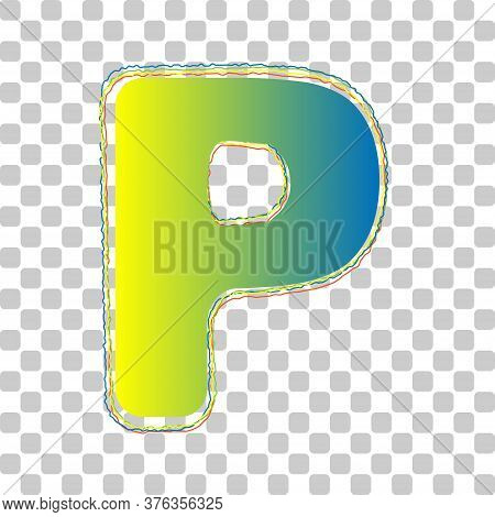 Letter P Sign Design Template Element. Blue To Green Gradient Icon With Four Roughen Contours On Sty