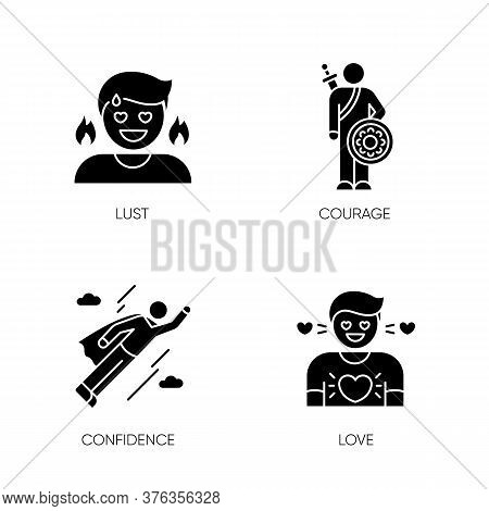 Good Feelings And Qualities Black Glyph Icons Set On White Space
