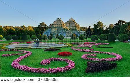 Vienna, Austria - September 2019. Famous Schonbrunn Park In Vienna, Austria. Garden With Flower Beds