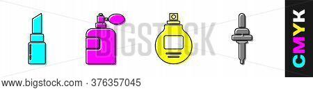 Set Lipstick, Perfume, Perfume And Pipette Icon. Vector
