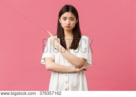 Beauty, People Emotions And Summer Leisure Concept. Upset Gloomy Girl In White Dress, Sulking And Fr