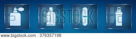 Set Perfume, Bottle Of Shampoo, Nail File And Perfume. Square Glass Panels. Vector