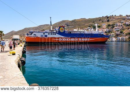 Symi, Greece - May 15, 2018: Dodekanisos Seaways, A Greek Ferry Company Operating The Dodecanese Isl