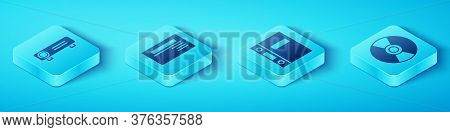 Set Isometric Movie, Film, Media Projector, Business Card, Cd Or Dvd Disk And Office Folders Icon. V