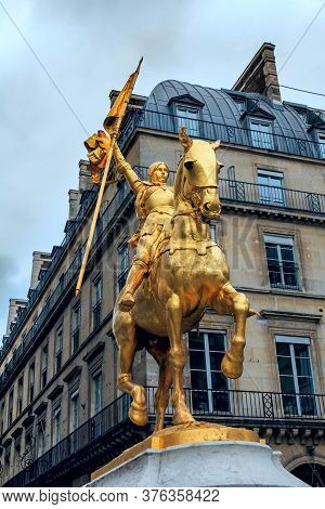 Paris Statue Of Joan Of Arc (jeanne D'arc) On Place Pyramides In Paris, France. Joan Of Arc,