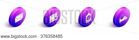 Set Isometric Envelope, Carton Cardboard Box And Delete, Verification Of Delivery List Clipboard And
