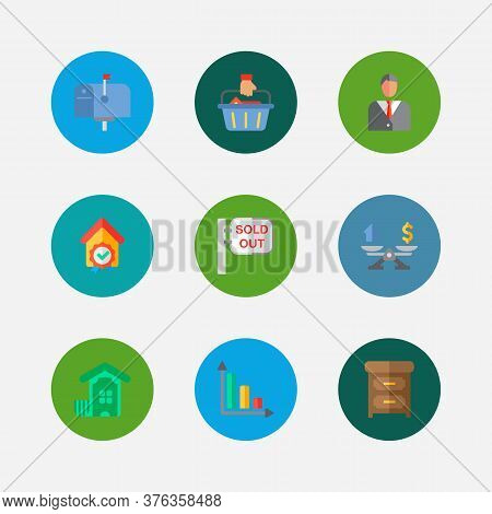 Real Estate Icons Set. Buyer And Real Estate Icons With Mail Box, Property Valuation And Checking. S