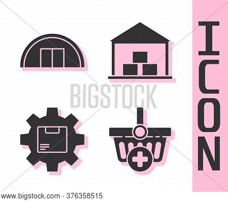 Set Add To Shopping Basket, Warehouse, Gear Wheel With Package Box And Warehouse Icon. Vector