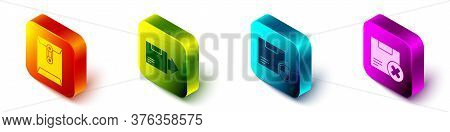 Set Isometric Envelope, Carton Cardboard Box, Delivery Security With Shield And Carton Cardboard Box