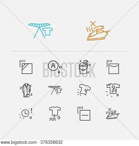 Textile Icons Set. No Steam And Textile Icons With Dirty T-shirt, Wet Clothes And Collapsible Clothe