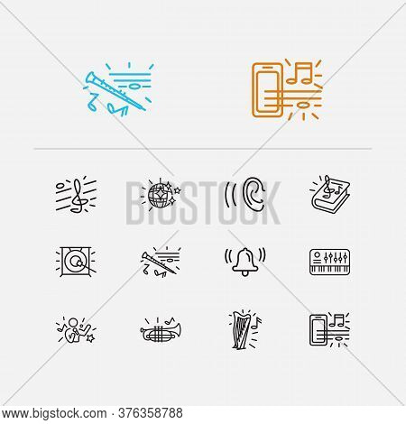 Melody Icons Set. Treble Clef And Melody Icons With Bell, Music Theory And Music On Phone. Set Of St
