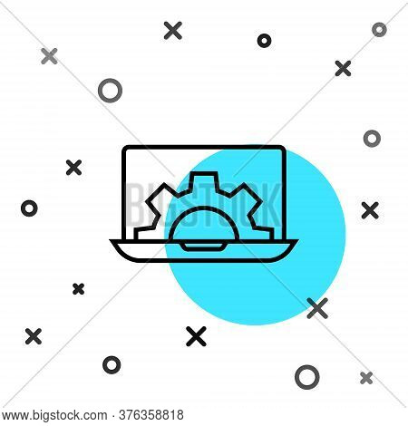Black Line Laptop And Gear Icon Isolated On White Background. Adjusting App, Setting Options, Mainte