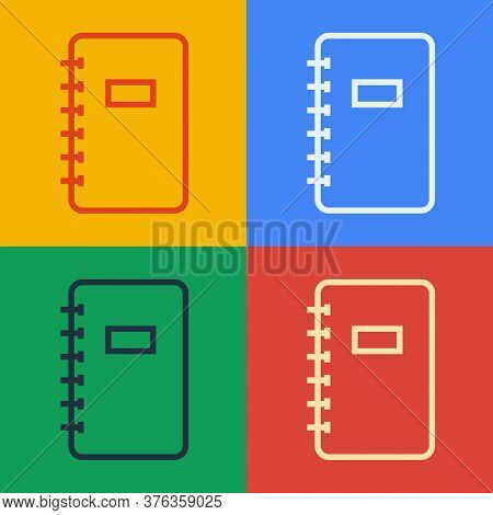 Pop Art Line Notebook Icon Isolated On Color Background. Spiral Notepad Icon. School Notebook. Writi