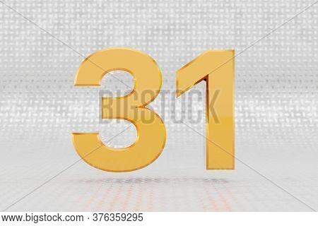 Yellow 3d Number 31. Glossy Yellow Metallic Number On Metal Floor Background. Shiny Gold Metal Alpha